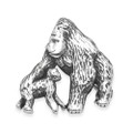 Sterling Silver Mother & baby Gorilla Brooch - size: 20mm x 22mm 9004