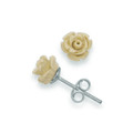 Sterling Siilver 8mm Ivory Rose stud - synthetic material 4650IV