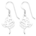 Sterling Silver Rose drop earrings with leaves - Size: 23mm x 24mm 6063