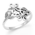 Sterling Silver Ring with Flowers & Leaves - 15mm wide  1275