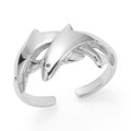 Sterling Silver Two leaping Dolphins Toe Ring - 9mm at widest part. 0979