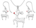 Sterling Silver Rudolph Red Nosed Reindeer Pendant, chain & drop Earrings set - SIZE: Pendant: 27mm x 18mm & Earrings: 16 x 11mm 8094SET in Christmas Gift Box