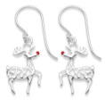 Sterling Silver Rudolph Red Nosed Reindeer Earrings - SIZE:16mm x 11mm 6094RED