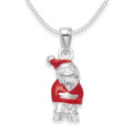 Solid Sterling Silver Red Enamel Santa Claus Pendant - Size: 16mm x 8mm 8623. Chain & box not included