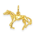 Children's Gold plate on silver Horse Pendant - SIZE: 20mm x 11mm. Excluding chain 4997.  Greatly Reduced to Clear