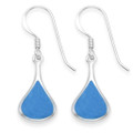 Sterling Silver Turquoise Teardrop Earrings with Silver back - Dark Turquoise/light royal blue colour - Size: 15mm x 9mm7920TQ