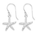 Sterling Silver Cubic Zirconia Starfish drop earrings - Size: 15mm x 14mm  7243CZ