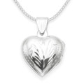 Sterling Silver Engraved opening  Heart Locket - Size: 13mm x 14mm 8005. Chain NOT included