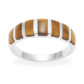 Sterling Silver Band ring set with 7 stones Tiger's Eye 2111TE