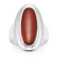 Sterling Silver Large oval ring, Carnelian with large silver surround 2172RA