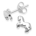 Sterling Silver Pony stud earrings - Size: 8mm x 6mm 5057
