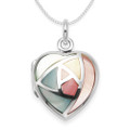 Sterling Silver Mother of Pearl Heart Locket - Blue, Pink, Green & yellow  - Size: 20mm.  Chain not included