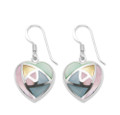 Sterling Silver Mother of Pearl Heart Earrings blue, pink, green and yellow - Size: 15mm. Excludes box.