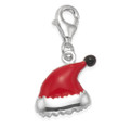 Sterling Silver Santa Hat Charm - Red enamel Father Christmas Hat clip-on charm - SIZE: 12mm x 10mm