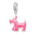 Sterling Silver Children's Dog Charm - Pink enamel clip-on charm - SIZE: