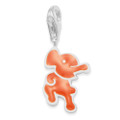 Sterling Silver Elelphant Charm - Orange enamel clip-on charm - SIZE: 10mm x 15mm 9971OR