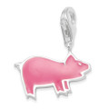 Sterling Silver Children's Pig Charm - Pink enamel clip-on charm - SIZE: