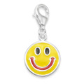 Sterling Silver Smiley Face clip-on charm - Yellow & Red Enamel charm - SIZE: