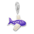 Sterling Silver Children's Aeroplane Charm - Purple enamel plane clip-on charm - SIZE: 14mm x 12mm