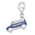 Sterling Silver Campervan charm - Blue Enamel 3D clip-on charm - SIZE: 14mm x 6mm
