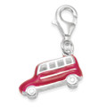 Sterling Silver Campervan charm - Red Enamel 3D clip-on charm - SIZE: 14mm x 6mm