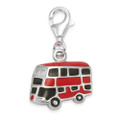 Sterling Silver London Bus charm - Red Enamel solid clip-on charm - SIZE: 14mm x 11mm - weight: 3gms.