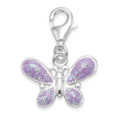 Sterling Silver Children's Butterfly Charm - Mauve enamel butterfly clip-on charm - SIZE: 10mm x 15mm