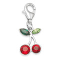 Sterling Silver Cherries Charm - Red & Green Cubic Zirconia cherry clip-on charm - SIZE: 12mm