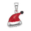 Sterling Silver Santa Hat Pendant - Red enamel Father Christmas Hat Pendant - SIZE: 12mm x 10mm. Chain not included. 4982