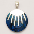 Sterling Silver dyed Blue Paua shell Pendant - size: 29mm