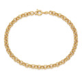 Gold plate on Sterling Silver round link bracelet - length 7""