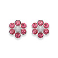 Sterling Silver Pink Crystal Flower stud with 6 stones & poly Pearl centre - SIZE: 6mm
