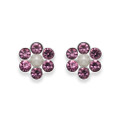 Sterling Silver Amethyst Crystal Flower stud with 6 stones & poly Pearl centre - SIZE: 6mm