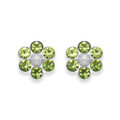 Sterling Silver Peridot Crystal Flower stud with 6 stones & poly Pearl centre - SIZE: 6mm