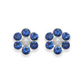 Sterling Silver Royal Blue Crystal Flower stud with 6 stones & poly Pearl centre - SIZE: 6mm