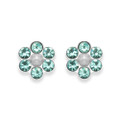 Sterling Silver Turquoise Crystal Flower stud with 6 stones & poly Pearl centre - SIZE: 6mm