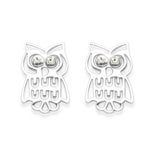 Sterling Silver Owl stud Earrings with Cubic Zirconia eyes