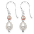 Sterling Silver Freshwater Pearl earrings, white and pink, Ovoid shape 7030PK