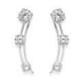 Sterling Silver Cubic Zirconia Stud Earrings with 3 stones , sits along earlobe 5773CZ