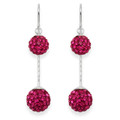 Sterling Silver Magenta double crystal ballls  Earrings - SIZE: 8mm & 10mm. 4710MAG