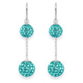 Sterling Silver Light Blue double crystal ballls drop  Earrings - SIZE 8mm & 10mm. 4710LB
