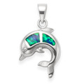 Sterling Silver Opal Dolphin Pendant - SIZE: 15mm accross - Lab Opal