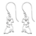 Sterling Silver Dog drop Earrings with Cubic Zirconia eyes 7241CZ