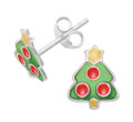 Sterling Silver Silver Christmas Tree Stud Earrings with enamel. Size: 04521