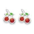 Sterling Silver and enamel Cherry stud Earrings Size: 7mm - 5567  LAST PAIR LOWER PRICE