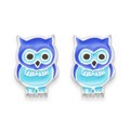 Silver Owl Stud Earrings with blue enamel.  Size:8mm