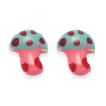 Sterling Silver Children's Enamel Mushroom stud Earrings - Pink - SIZE:6mm