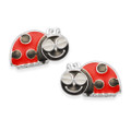 Sterling Silver Ladybird Stud with enamel.  Size: 11x6mm - 5927