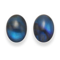 Sterling Silver Oval Dyed Blue Paua Shell Stud Earrings 5831BL