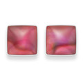 Sterling Silver Small Square Dyed Pink Paua Shell Stud Earrings Size:6mm - 5809PK